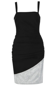 Ruched Detail Dress Black Silver