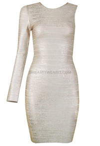 One Sleeve Woodgrain Foil Print Dress Gold