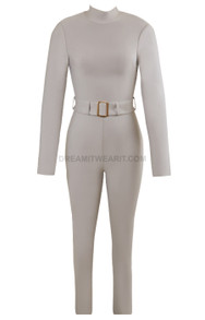 Long Sleeve Belt Backless Jumpsuit Grey