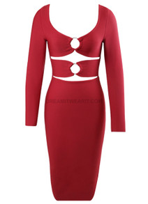 Long Sleeve Cut Out Detail Midi Dress Burgundy
