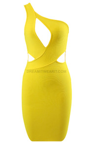 One Shoulder Cut Out Dress Yellow