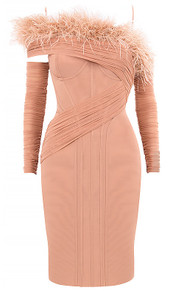 Long Sleeve Feather Bardot Dress Peach
