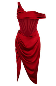 One Sleeve Bardot Draped Midi Satin Dress Red