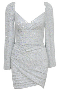 Long Sleeve Draped Sequin Two Piece Dress Silver