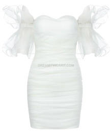 Frill Bardot Ruched Dress White