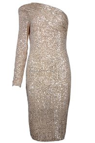 One Sleeve Sequin Midi Dress Gold