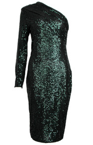 One Sleeve Sequin Midi Dress Green
