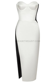 Strapless Bustier Midi Dress Black White