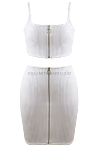 Front Zipper Ribbed Two Piece Dress White