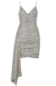 Ruched Sequin Dress Silver