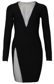 Long Sleeve Embellished Panel Dress Black