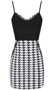 Lace Insert Houndstooth Dress Black White