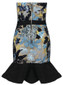 Strapless Embroidered Sequin Frill Dress