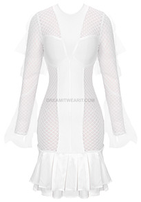Long Sleeve Structured Fluted Dress White