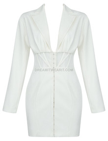 Long Sleeve Structured Mesh Dress White