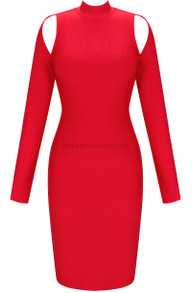 Long Sleeve Cut Out Backless Midi Dress Red