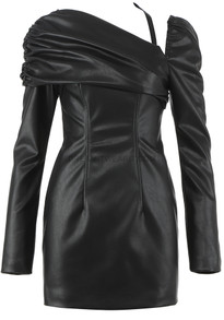 Long Sleeve Draped Faux Leather Dress Black