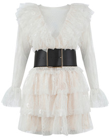 Long Sleeve Lace Frill Dress White