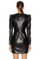 Long Sleeve Ruched Faux Leather Dress Black