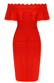 Frill Detail Bardot Midi Dress Red
