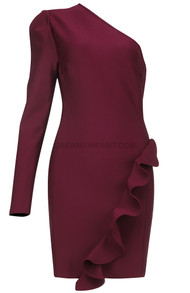 One Sleeve Frill Detail Dress Burgundy