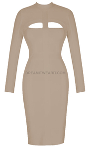 Long Sleeve Cut Out Detail Midi Bandage Dress Nude
