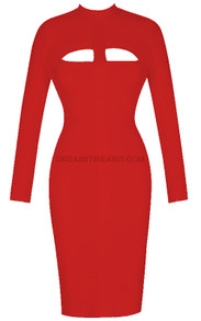 Long Sleeve Cut Out Detail Midi Bandage Dress Red