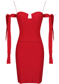 Pearl Strap Bardot Bustier Midi Dress Red