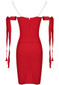 Pearl Strap Bardot Bustier Midi Dress Red