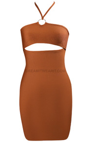 Halter Cut Out Dress Brown