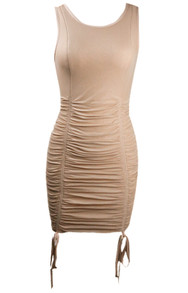 Ruched Detail Dress Brown