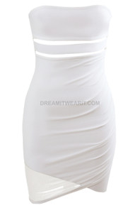 Strapless Cut Out Dress White