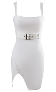 Belt Detail Slit Dress White