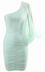 Mesh Puff Sleeve Ruched Dress Green
