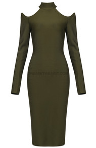 Long Sleeve Cold Shoulder Midi Dress Green