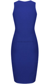 Back Zipper Midi Dress Blue