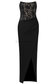 Strapless Lace Draped Midi Dress Black