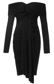 Long Sleeve Bardot Ruched Dress Black