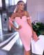 Pearl Strap Bardot Bustier Midi Dress Pink