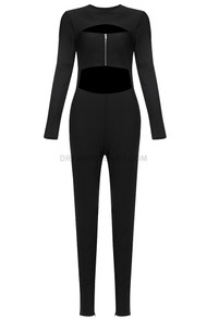 Long Sleeve Cut Out Detail Jumpsuit Black