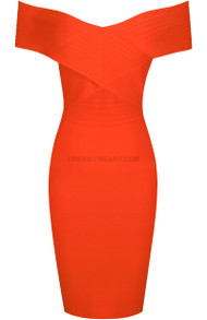 Bardot Ribbed Dress Orange
