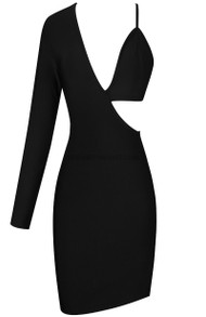 One Sleeve Asymmetric Dress Black