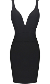 Plunge V Neck Dress Black