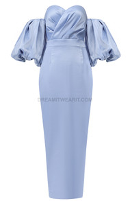 Puff Sleeve Bardot Midi Satin Dress Blue
