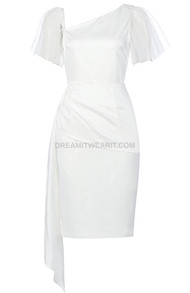 Mesh Sleeve Draped Dress White
