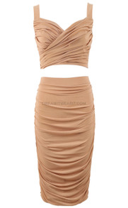 Ruched Two Piece Midi Dress Nude