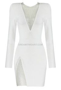 Long Sleeve Embellished Panel Dress White