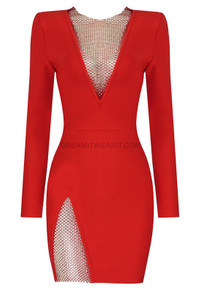 Long Sleeve Embellished Panel Dress Red