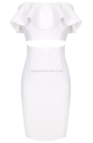 Strapless Frill Midi Dress White