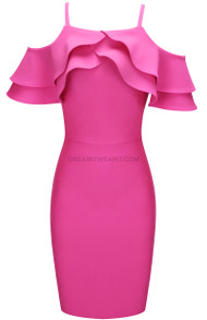 Frill Detail Midi Dress Pink